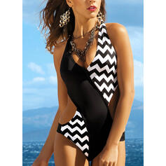 Stripe Monokini Halter V-Neck Sexy Eye-catching One-piece Swimsuits