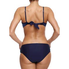 Solid Color Low Waist Strap Elegant Bikinis Swimsuits