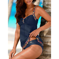 Floral Strap Elegant Plus Size Tankinis Swimsuits