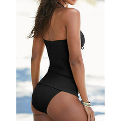 Solid Color Backless Ruffles Knotted V-Neck Strapless Sexy Retro Exquisite Tankinis Swimsuits