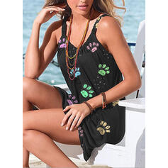 Solid Color String Strap Round Neck Sports Cute Plus Size Casual Cover-ups Swimsuits