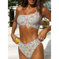 Floral One-Shoulder U-Neck Casual Boho Bikinis Swimsuits