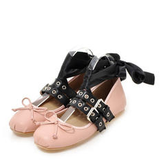 Women's Leatherette Flat Heel Flats With Buckle shoes