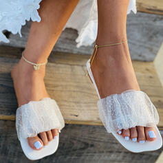 Women's Mesh Flat Heel Sandals Slippers With Solid Color shoes
