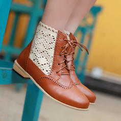 Women's PU Chunky Heel Ankle Boots With Lace-up Hollow-out shoes