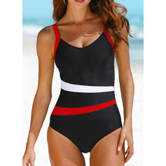 Stripe Color Block Strap U-Neck Elegant Sports One-piece Swimsuits