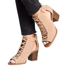 Women's PU Chunky Heel Sandals Pumps With Hollow-out shoes