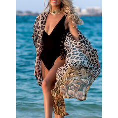 Leopard Print V-Neck Sexy Beautiful Cover-ups Swimsuits