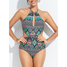 Colorful Halter Bohemian Plus Size One-piece Swimsuits