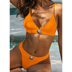 Solid Color Backless Strap V-Neck Sexy Retro Exquisite Bikinis Swimsuits
