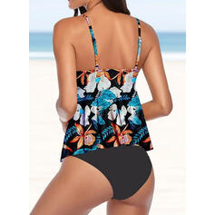 Tropical Print Strap V-Neck Sexy Tankinis Swimsuits