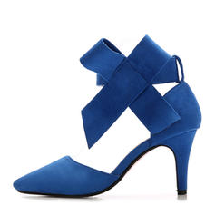 Women's Suede Stiletto Heel Sandals Pumps Closed Toe With Bowknot shoes