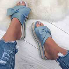 Women's Cloth Flat Heel Sandals Peep Toe Slippers With Bowknot shoes