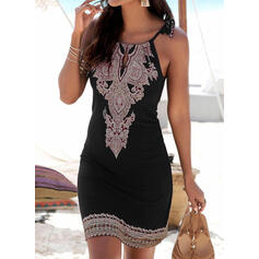 Stripe Splice color Round Neck Elegant Cover-ups Swimsuits