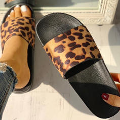 Women's PU Flat Heel Sandals Peep Toe Slippers With Animal Print shoes