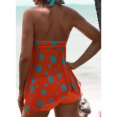 Dot Print Halter Sexy Tankinis Swimsuits