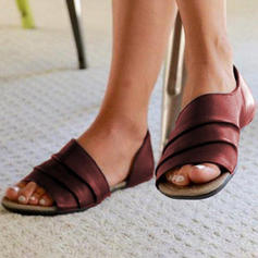 Women's Satin Flat Heel Sandals Flats Peep Toe With Others shoes