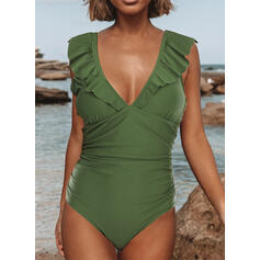 Solid Color Wave Cut V-Neck Sexy Vintage One-piece Swimsuits