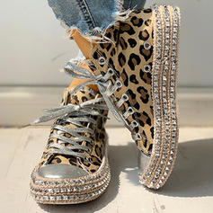 Women's Denim Casual Outdoor With Animal Print Lace-up shoes