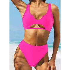 Solid Color Strap V-Neck Classic Bikinis Swimsuits