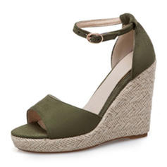 Women's Suede Wedge Heel Sandals Wedges Peep Toe With Buckle shoes