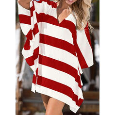 Stripe V-Neck Beautiful Casual Cover-ups Swimsuits