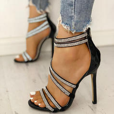 Women's PU Stiletto Heel Sandals Peep Toe With Rhinestone Buckle shoes