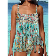 Floral Print Strap U-Neck Sexy Vintage Tankinis Swimsuits