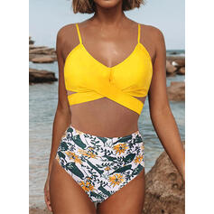 High Waist Tropical Print Strap Round Neck Sexy Bikinis Swimsuits