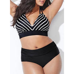 Tropical Print Halter Sexy Plus Size Bikinis Swimsuits