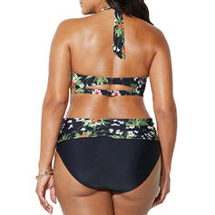 Floral High Waist Print Halter Beautiful Plus Size Bikinis Swimsuits