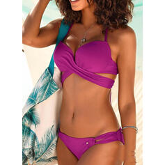 Solid Color Hollow Out Halter V-Neck Sexy Bikinis Swimsuits