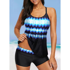 Splice color Gradient Halter Sports Plus Size Tankinis Swimsuits