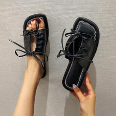 Women's Leather Flat Heel Square Toe With Lace-up Solid Color shoes