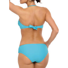 Solid Color Low Waist Halter Fashionable Bikinis Swimsuits
