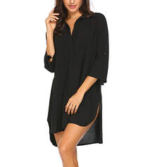 Solid Color Patchwork V-Neck Sexy Elegant Plus Size Cover-ups Swimsuits
