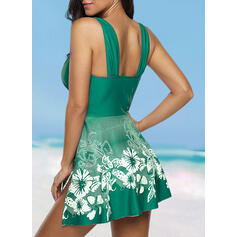 Floral Print Strap V-Neck Plus Size Casual Tankinis Swimsuits