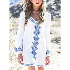 Colorful Long Sleeve Round Neck Bohemian Cover-ups Swimsuits