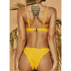 Solid Color Ruffles Knotted Strap Sexy Fashionable Beautiful Bikinis Swimsuits