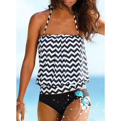 Stripe Blouson Halter Elegant Beautiful Tankinis Swimsuits