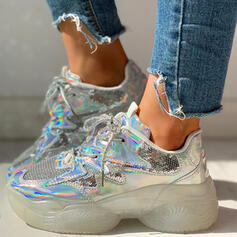 Women's Cloth Mesh Casual Outdoor With Sequin Lace-up shoes