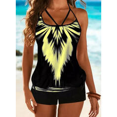 Print Strapless Vintage Plus Size Casual Tankinis Swimsuits