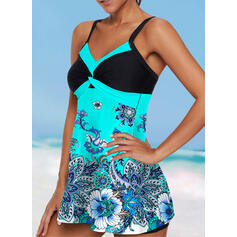 Splice color Tropical Print Strap V-Neck Sports Colorful Casual Swimdresses Swimsuits