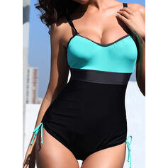 Solid Color Backless Quick Dry Strap Classic Attractive Retro One-piece Swimsuits