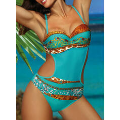 Print Push Up Strap Sexy One-piece Swimsuits