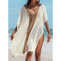 Splice color Tassels V-Neck Classic Cover-ups Swimsuits