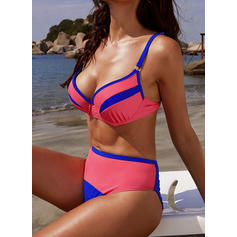 Splice color Neon Strap Sexy Bikinis Swimsuits