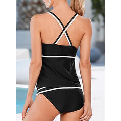 Patchwork Strap Sexy Casual Tankinis Swimsuits