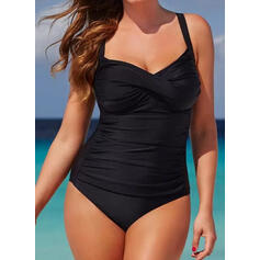 Solid Color Strap V-Neck Sexy Plus Size Casual One-piece Swimsuits