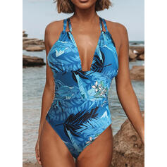 Print Halter V-Neck Sexy One-piece Swimsuits